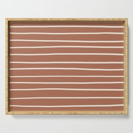 Inspired By Creamy SW 7012 Hand Drawn Thin Horizontal Lines on Cavern Clay Sw 7701 Serving Tray