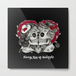 Roses Sugar Skull Couple, Always Kiss Me Goodnight Metal Print