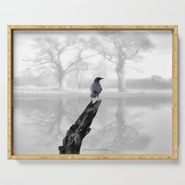 Crow On Misty Pond A114 Serving Tray