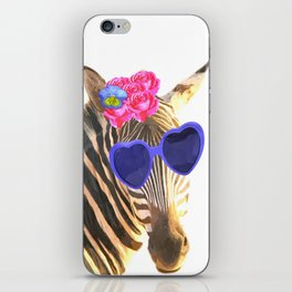 Zebra funny animal illustration iPhone Skin
