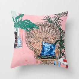 Peacock Chair in Pink Jungle Interior Throw Pillow