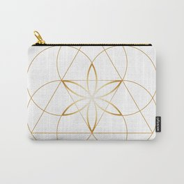 Modern Minimalist Sacred Geometry Symbol, Geometric Flower of Life in Gold and White Abstract Luxury Carry-All Pouch