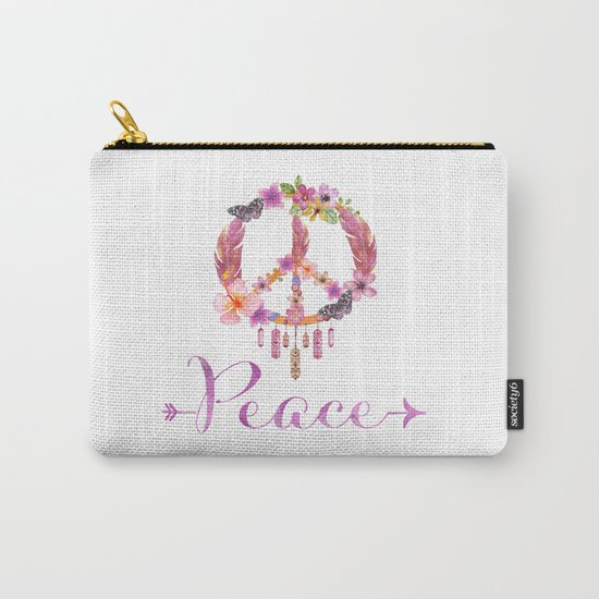 Peace Symbol Flower Power 70s Art Carry-All Pouch