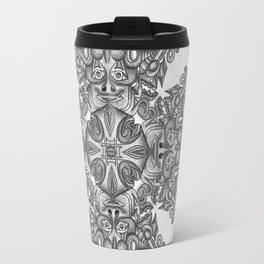 black, white and gray  Travel Mug