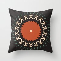 tool Throw Pillows featuring Tool & Die by See Kevin Design