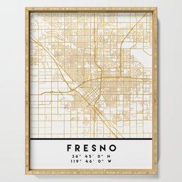 FRESNO CALIFORNIA CITY STREET MAP ART Serving Tray