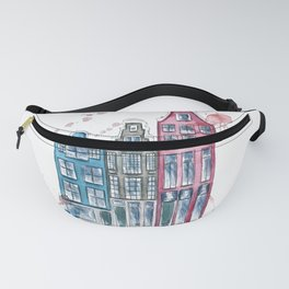 Watercolor Amsterdam Houses Whimsical Art Fanny Pack