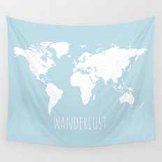 World Map - Wanderlust Quote - Modern Travel Map in Light Blue With White Countries Wall Tapestry