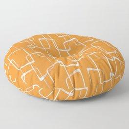 Retro Orange Lino Print Geometric Pattern Floor Pillow