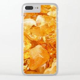 """""""Amber Quartz Solar Orange Crystal Opal Gem Stone"""" Clear iPhone Case"""