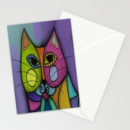 Calico Cat Colorful Abstract Digital Painting  Stationery Cards