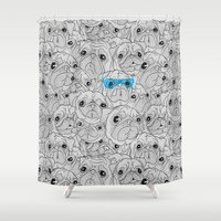 hot dog Shower Curtains featuring Hot Dog by jublin