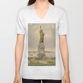 Currier & Ives. - Print c.1885 - Statue of Liberty 1 Unisex V-Neck