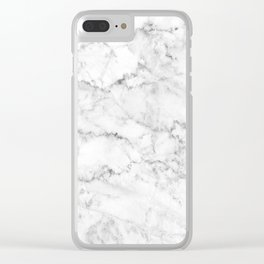 Gray & White Faux Marbles Texture Clear iPhone Case