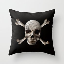 Jolly Roger - Black and Bone Throw Pillow