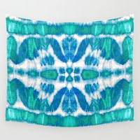 tie dye Wall Tapestries featuring Tie-Dye Twos Aqua by Nina May Designs