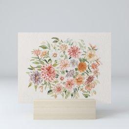 Loose Peachy Dahlia Watercolor Bouquet Mini Art Print
