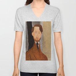 Leopold Zborowksi by Amedeo Modigliani, 1919 Unisex V-Neck
