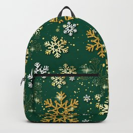 Green Background with Snowflakes Backpack