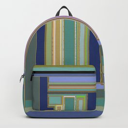Industrial Blue Green Gray Navy Striped Geometric graphic design Backpack