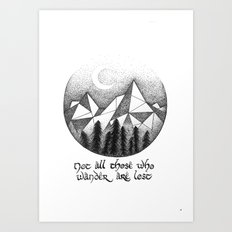 Lord of The Rings Quote - Stippling - Geometric - Wall Art Art Print
