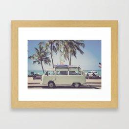 bus, van, beach, hippie, tropical, summer, travel, explore, adventure, wanderlust, travel van, boho Framed Art Print
