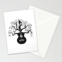 Guitar silhouette with tree branches and music notes Stationery Cards