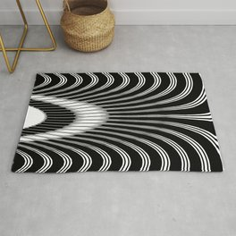 Black and White Geometric Arches Rug