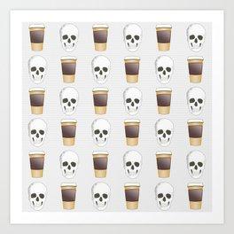 Coffee Skull Pattern Art Print