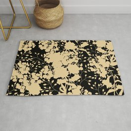 Silhouettes of Golden flowers Rug