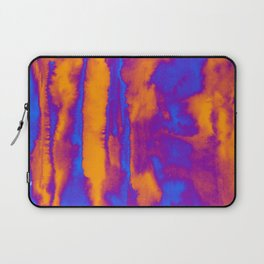 Abstract watercolor striped background in blue and orange colors Laptop Sleeve