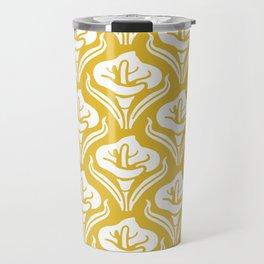 Calla Lily Pattern Mustard Yellow Travel Mug