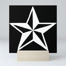 White Tattoo Style Star on Black Mini Art Print