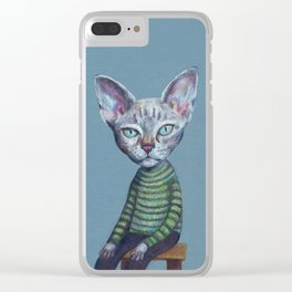 Cat sitting and starring Clear iPhone Case