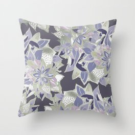 Mauve gray lavender silver watercolor floral Throw Pillow