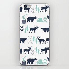 Camper pattern minimal nursery basic grey navy mint white camping cabin chalet decor iPhone Skin