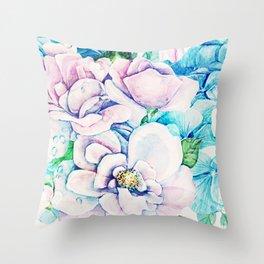 blue flowers c Throw Pillow