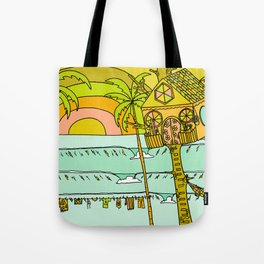 Tree House Free House surf paradise Tote Bag