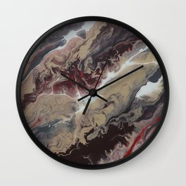 Neutral Black, Red and Brown Painting - Schism Abstract Wall Clock