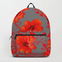ORANGE-RED AMARYLLIS BROCADE FLORAL GREY ART Backpack