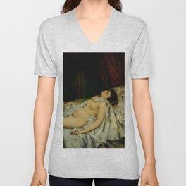 "Gustave Courbet ""Sleeping Nude"" Unisex V-Neck"