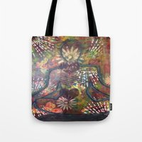 namaste Tote Bags featuring Namaste by Tiffany Alcide