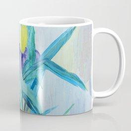 yellow iris on a blue background Coffee Mug