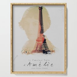 Amelie, minimalist movie poster, french film playbill, the fabulous life of Amélie Poulain, Serving Tray