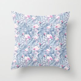 Pink blue watercolor tropical flamingo floral Throw Pillow