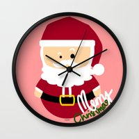 santa Wall Clocks featuring Santa by Kimono Hyun