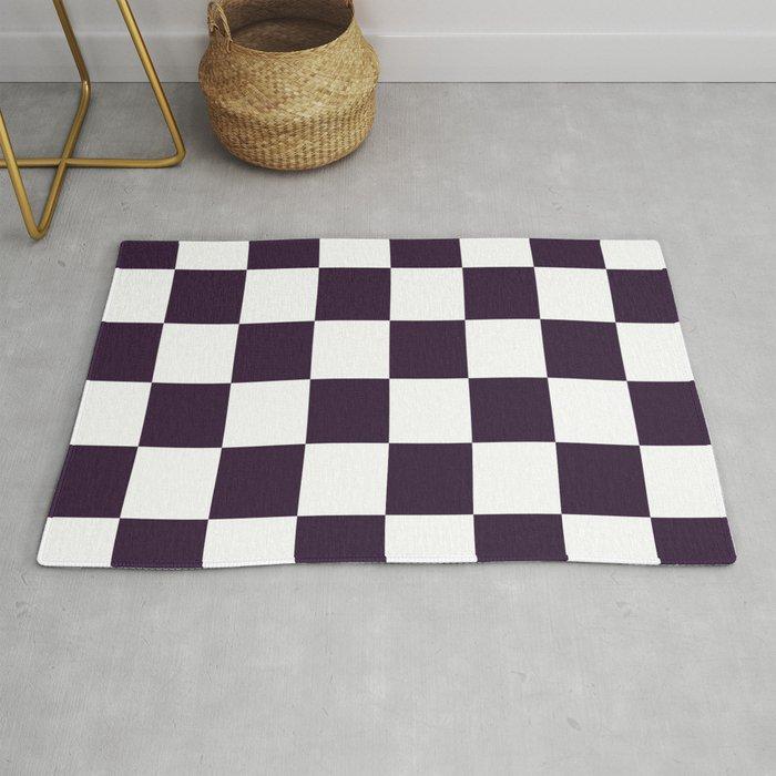 White And Dark Purple Rug