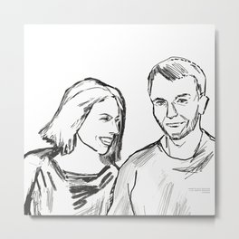 She and he black white drawing, digital illustration Metal Print