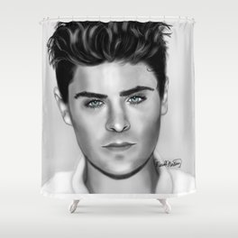 Zan Efron with Blue eyes Shower Curtain