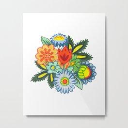 Fun Folk Floral Pattern Metal Print